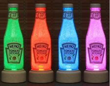 Heinz Ketchup Glass Bottle Lamp 14 oz  Color Changing Remote Control Bar Light