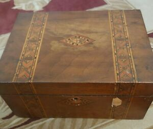 Vintage wooden box with key For Sewing Or Stationary