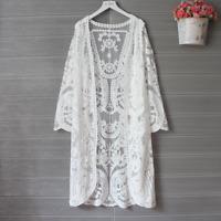 Women Kimono Cardigan Long Cut Out Embroidery Lace White Shirt Top Beach CoverUp