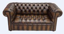 Chesterfield 2 Seater Buttoned Seat Antique Tan Leather Sofa Settee