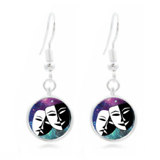 Mask Smile now glass Frea Earrings Art Photo Tibet silver Earring Jewelry #363