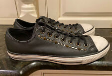 Converse Black Leather Studs & Spikes Sneakers, Size 12.