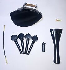 Ebony Violin parts Set.Teka Chinrest French tailpiece heart pegs endpin