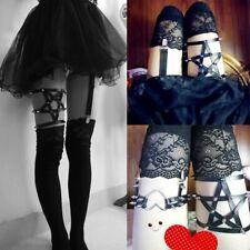 Pentagram Garter Thigh Harness Star Pentacle Black Silver Spikes Dominatrix Boho
