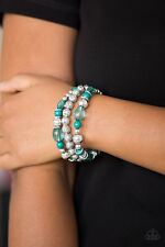 Paparazzi ~ Malibu Marina ~ Green & Silver Beads Stretch Bracelet ~ Amazing