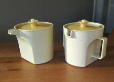 Vintage Tupperware Creamer (1414) & Sugar Bowl (1415) Almond Harvest Gold