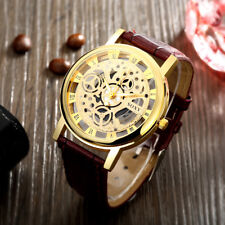 Men's Brown Leather Gold Quartz Wrist skeleton Watch With Gold Dial Gift