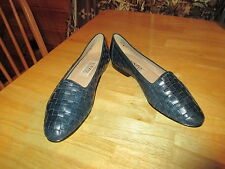 Womens ENZO ANGIOLINI Dark Blue Woven Leather Flat Slip On Loafers Shoes Sz 7.5M