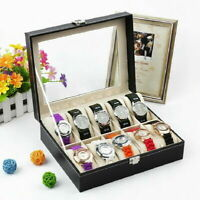 10 Slot Men Watch Box Leather Display Case Organizer Glass Jewelry Storage US