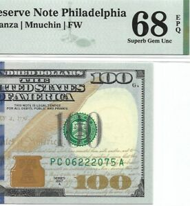 2017A $100 PHILADELPHIA FRN, PMG SUPERB GEM UNCIRCULATED 68 EPQ BANKNOTE