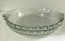 "Glass Pie Pan PYREX  OVENWARE 9"" Deep Dish With Fluted Handles/USA  228"