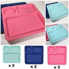 Kids Plastic Divided Plate Square Picnic Party Lunch Plate Bpa Free Made In Usa