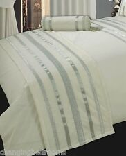 CREAM / SILVER HOLLYWOOD GLAMOUR 100% EGYPTIAN COTTON BED RUNNER 230x50cms