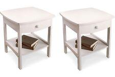 Nightstand Set Wooden End Table Pair Shelf Bedroom Bedside Furniture White Wood