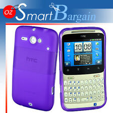 Purple Soft Gel TPU Cover Case For HTC ChaCha G16 + Screen Protector