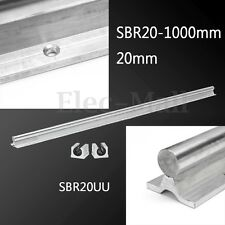 SBR20-1000mm 20mm Rail + 2 SBR20UU Slide Block Aluminum Linear Bearing Guide CNC