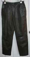 Black Leather Pants With Thin Lining 28x29 Zippered Front With Button