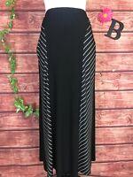 Antthony Skirt Plus size 2X Long Black Striped Slinky A Line Stretch Modest Slim