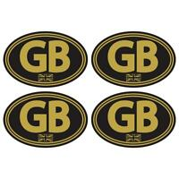 GB Laminated Stickers Small 75mm Gold Black Car Motorbike Scooter Vespa Decal
