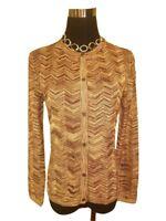 NEW! Missoni Metallic Knit Sweater Cardigan - Elegant Gold Chevron