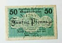 FORST (LAUSITZ) NOTGELD 50 PFENNIG 1917 NOTGELDSCHEIN (10955)