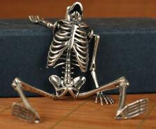 fine silver 925 personality flexible human skull rare statue pendant netsuke