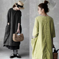ZANZEA 8-24 Women Short Sleeve Cotton Kaftan Loose Baggy Basic Long Midi Dress