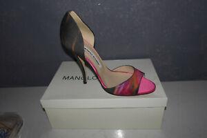 Manolo Blahnik Multicolo rFabric Heel Pumps Open Toe Shoes Size 39 NIB