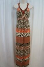 Sangria Dress Sz 10 Ivory Brown Multi Color Beaded Neckline Maxi Casual Party