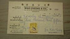 New listing Old Bank Promissory Note Revenue Receipt, Singapore Wan Cheong Co 6c Revenue