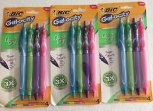 12 Bic Gelocity Quick Dry Pens Medium . Assorted Colors. 3 Packs Of 4