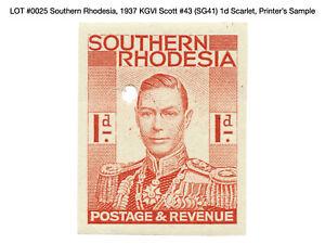 0025: Southern Rhodesia, 1937 KGVI Scott #43 (SG41) 1d Scarlet, Printer's Sample