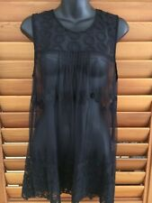 Katies Womens Feminine Sheer Black Embroidered Lace Top Cami - Size Large NEW