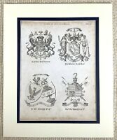 1830 Antico Incisione Sir Walter Scott Lord Durham Famiglia Crest Coat Di Bracci