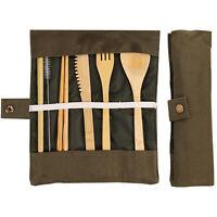 Reusable Bamboo Cutlery Travel Set Fork Spoon Straw Knife chopstick Utensils