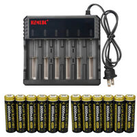Garberiel 18650 Battery 6000mAh Li-ion 3.7V Rechargeable For LED Flashlight Lot