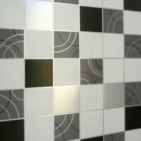 Debona Dotty Tile Pattern Kitchen Bathroom Wallpaper Black/Sliver & White 2670