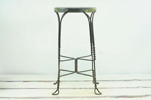 Antique Chippy Paint Unusual Twisted Wrought Iron and Wood Ice Cream Parlor Stoo