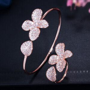 CWWZircons Adjustable Cubic Zirconia Rose Gold Flower Open Cuff Bangle Ring Sets