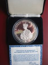 Jamaica 1969 Large Silver Proof $25 Dollars coin Prince Charles 136 grams COA