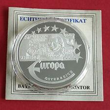 AUSTRIA 1997 EUROPE COMMEMORATIVE 40mm .999 FINE SILVER PROOF MEDAL A - coa