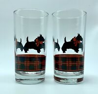 Vintage Fitz Scottie Dog Red Plaid Drink Glasses Tumblers Set of 2