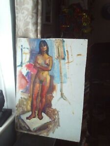 "Female Nude Vintage/Retro 1960s/70s Original Painting Acrylic on Board 24"" x 17"""