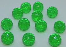 50pcs.  17mm Emerald Round Acrylic Beads-Faceted-Jewelry Making-BULK-(2308)NEW
