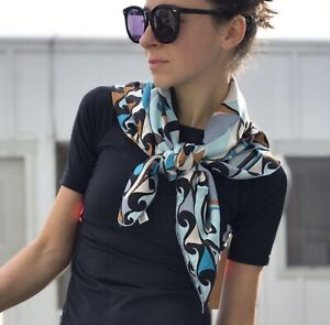Emilio Pucci Silk Scarf Made in Italy Geometric Print Blue Brown