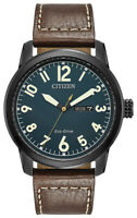 Citizen Eco-Drive Chandler Men's Brown Leather Day-Date 42mm Watch BM8478-01L