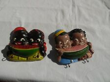 Vintage Black Americina Chalkware Towel, Key or Pot Hangers