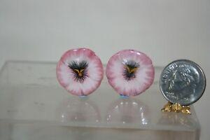 Miniature Dollhouse Valerie Casson Pr Pink Pansy Porcelain Plates France 1:12 NR