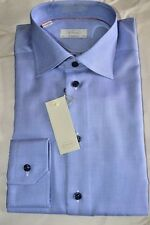 NWT $295 ETON Mid Blue 15.75 eu40 textured CONTEMPORARY men's cotton dress shirt