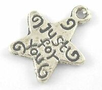 "25 Pcs 14mm Tibetan Silver /""Just for you /"" Stars Charms Beading Craft  J107"